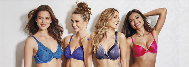 Four women are wearing different styles and colors of bras.