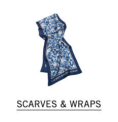 A blue & white print scarf. Shop scarves & wraps.