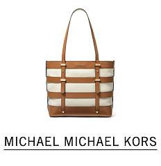 A brown & white horizontal striped tote. Shop Micheal Michael Kors.