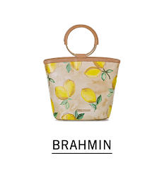 A lemon print bucket tote. Shop Brahmin.