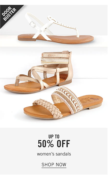 An assortment of women's flat sandals in a variety of colors & styles. Doorbuster. Up to 50% off women's sandals. Shop now.