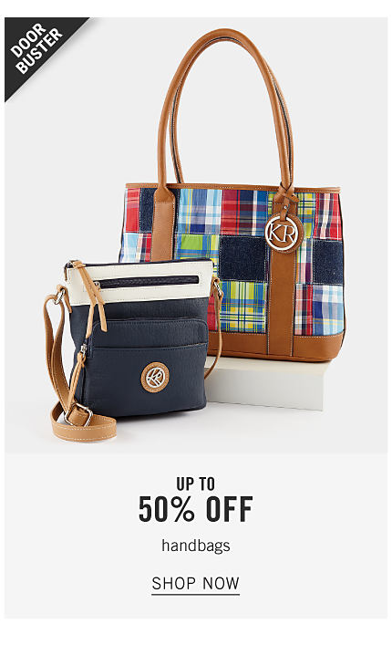 An assortment of handbags in a variety of colors & styles. Doorbuster. Up to 50% off handbags. Shop now.