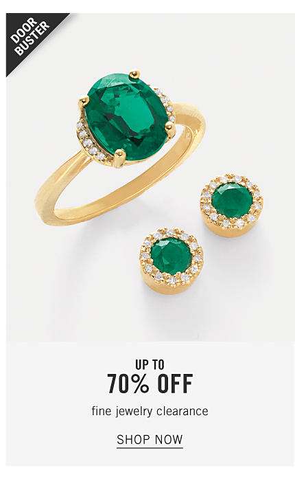 A gold ring with a green gem stone & gold earrings with green gem stones. Doorbuster. Fine Jewelry Clearance. Up to 70% off. Shop now.
