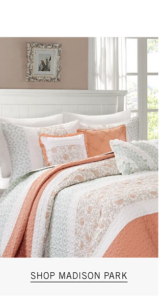 Home Must Haves Only on Belk Dot Com. A bed made with a white & peach patterned print comforter & matching pillows. Shop Madison Park.