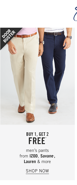 Share the Summer Style. A man wearing a light pink polo, beige pants & brown shoes standing next to a man wearing a white polo with navy horizontal stripes, navy pants & blue suede shoes. Doorbuster. Buy 1, Get 2 Free men's pants from Izod, Savane, Lauren & more. Shop now.