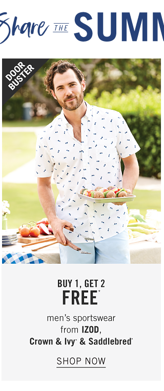 A man wearing a white short sleeved button front shirt with a navy pattern print & light blue pants. Doorbuster. Buy 1, Get 2 Free men's sportswear from Izod, Crown & Ivy & Saddlebred. Shop now.