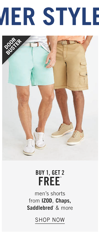 A man wearing a white & gray horizontal striped polo, mint green shorts & white sneakers standing next to a man wearing a peach polo, beige shorts & beige shoes. Doorbuster. Buy 1, Get 2 Free men's shorts from Izod, Chaps, Saddlebred & more. Shop now.