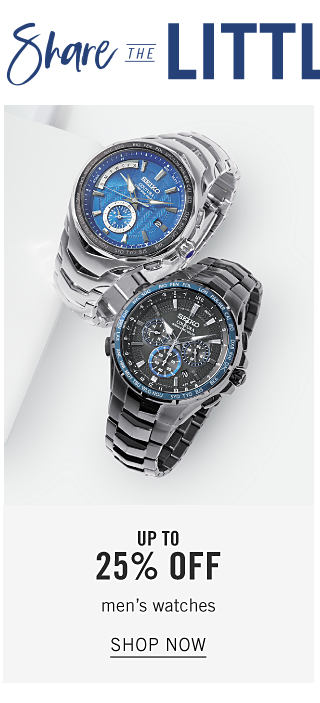 Two different styles of men's watches. Up to 25% off men's watches. Shop now.