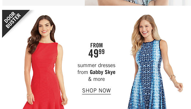 A woman wearing a red sleeveless dress. A woman wearing a blue & white patterned print sleeveless dress. Doorbuster. From $49.99 summer dresses from Gabby Skye & more. Shop now.