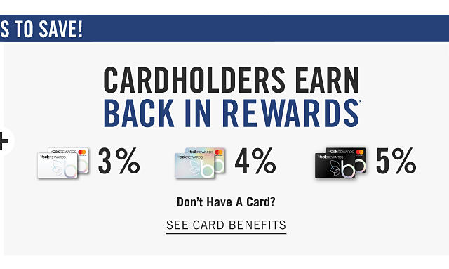 Belk Rewards credit cardholders earn 3% back in rewards. Belk Premier Rewards credit cardholders earn 4% back in rewards. Belk Elite Rewards credit cardholders earn 5% back in rewards. Don't have a card. See Card Benefits.