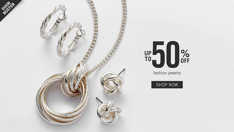 d783ba756f429 An assortment of silver tone earrings & necklaces. Doorbuster. Up to 50% off