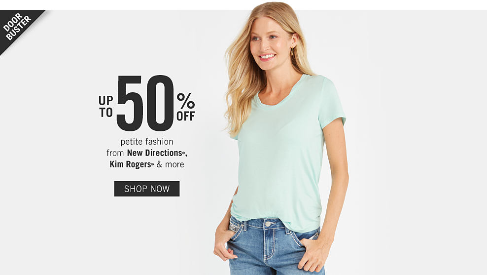 31483f6f7ee5f A woman wearing a mint green short sleeved tee & blue jeans. Doorbuster.  Up. Save on More Petite ...