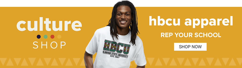 A man wearing a HBCU graphic tee. Support and represent historically black colleges and universities.