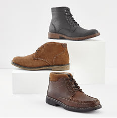 An assortment of men's shoes in a variety of colors. Shop shoes.
