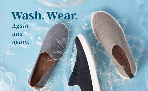 A gray slip on sneaker, a black sneaker with laces and a slip on tan sneaker. Wash, wear. Again and again.