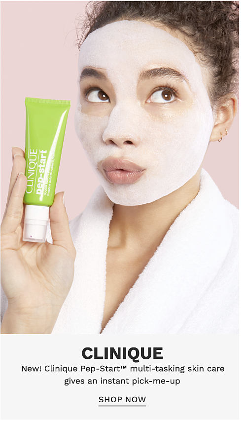 A woman wearing a Clinique face mask and holding a tube of Clinique Pep Start. Clinique. New! Clinique Pep Start multitasking skin care gives an instant pick me up. Shop now.