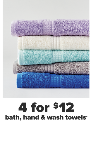 Five towels in a folded stack in purple, white, turquoise, gray and blue. Four for $12 Modern. Southern. Home. towels.