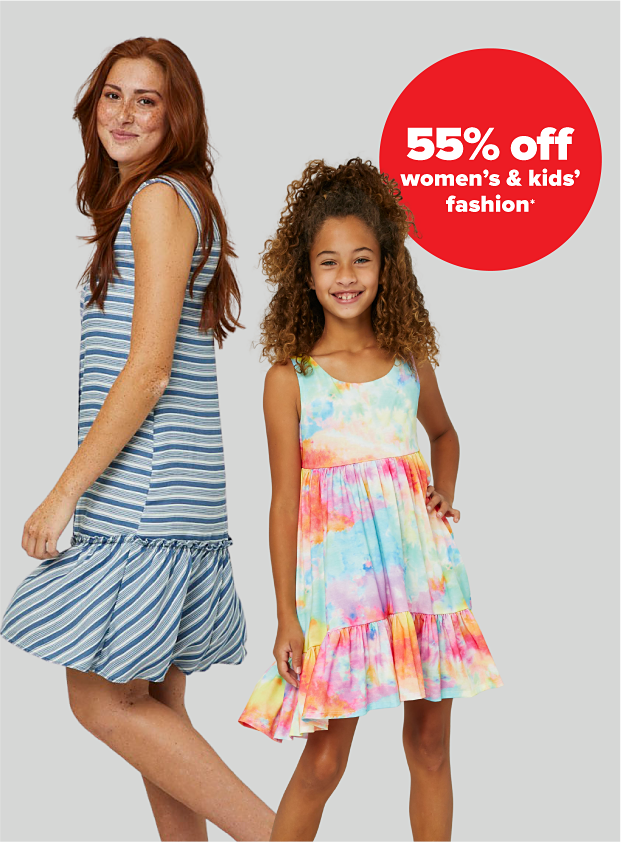 A woman in a blue and gray striped shift dress. A little girl in a tiered rainbow tie dye dress. 55% off women's and kids' fashion.
