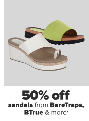 A white wedge sandal with a toe accent. A flat sandal with a green band. 50% off sandals from BareTraps, BTrue and more.