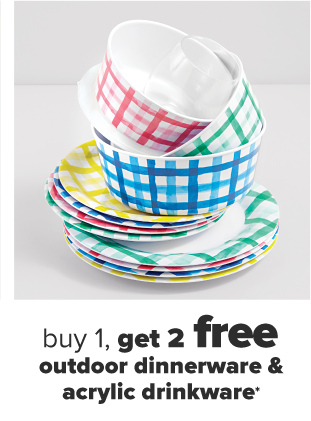 A set of colored gingham bowls and plates in pink, green, blue and yellow. Buy one, get two free outdoor dinnerware and acrylic drinkware.