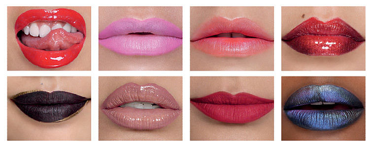 Eight pairs of lips in various shades of lipstick.