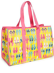 A multi color print beach bag. Shop beach bags.