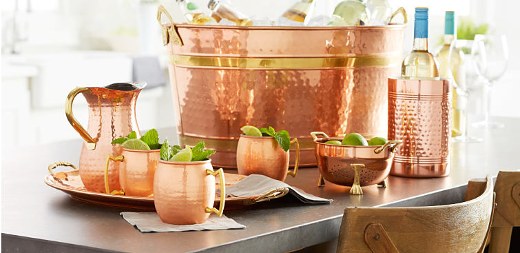 An assortment of copper drinkware.