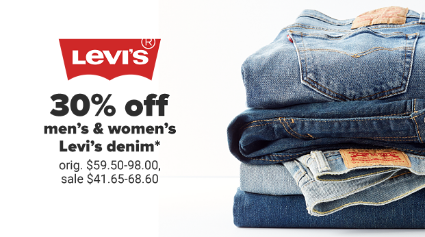 A stack of folded Levi's jeans in different shades of blue. 30% off men's and women's Levi's denim. Originally $59.50 to $98, sale $41.65 to $68.60.