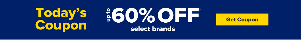 Today's coupon, up to 50% off select brands. Get coupon.