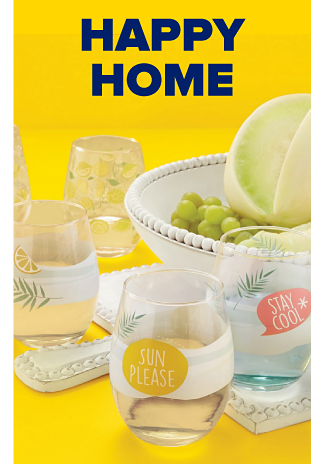A collection of summer dinnerware and drinkware with lemon and lime designs. Happy home.