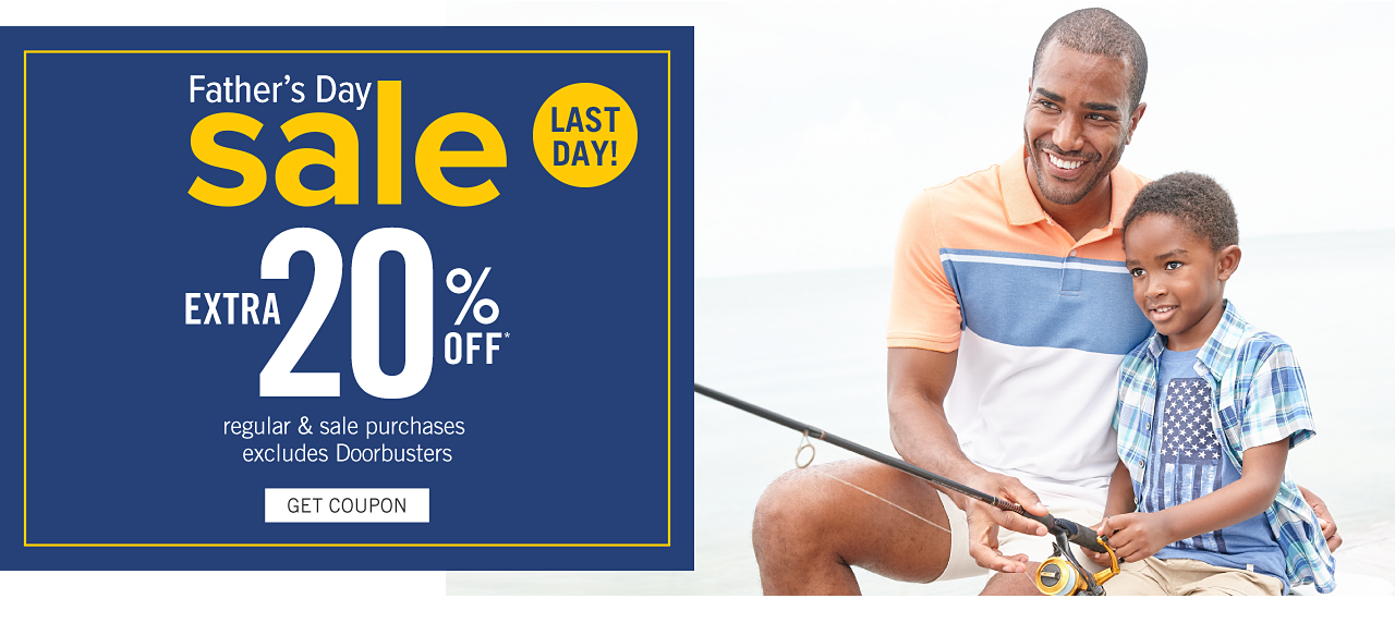 A man wearing a light yellow, light blue & white colorblock polo & white shorts sitting next to a boy wearing a blue & white plaid short sleeved button front shirt over a light blue T shirt with a distressed American flag front graphic & beige shorts. Last Day. Father's Day Sale. Extra 20% off regular & sale purchases. Excludes Doorbusters. Get coupon.