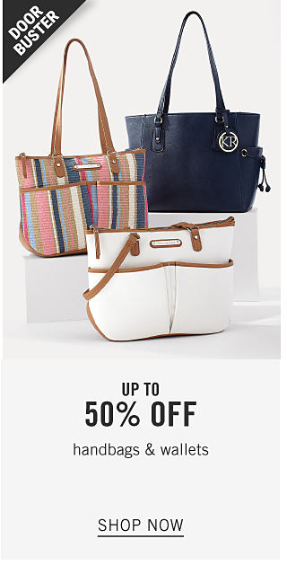 An assortment of handbags in a variety of colors and styles. Doorbuster. Up to 50% off handbags & wallets. Shop now.