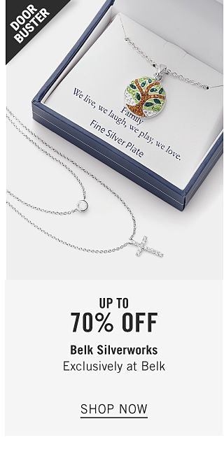 A boxed charm bracelet next to an unboxed cross pendant necklace. Doorbuster. Up to 70% off Belk Silverworks. Shop now