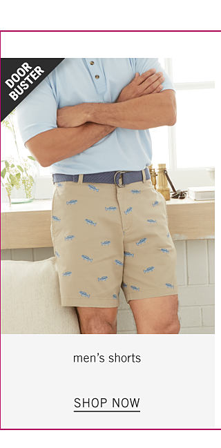 Up to 60% Off Men's Styles. A man wearing a light blue polo & beige shorts with a navy fish patterned print. Doorbuster. Shop men's shorts.
