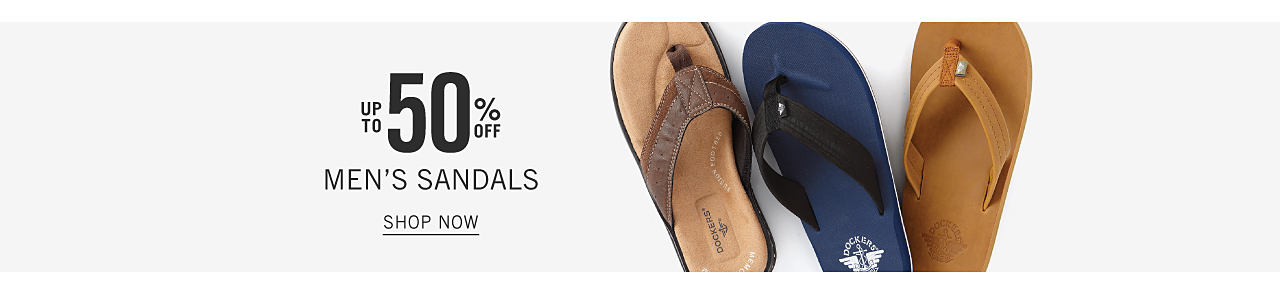 An assortment of men's sandals in a variety of colors & styles. Up to 50% off men's sandals. Shop now.