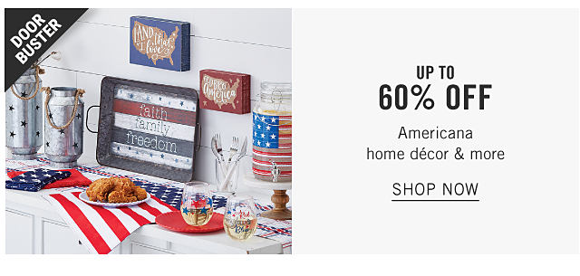 An assortment of red, white & blue Americana themed decorative accents. Doorbuster. Up to 60% off Americana home decor & more. Shop now.