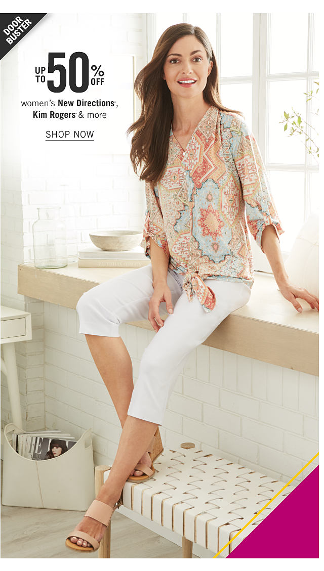 A woman wearing a multi colored print long sleeved blouse, white capris & beige sandals. Doorbuster. Up to 50% off women's New Directions, Kim Rogers & more. Shop now.