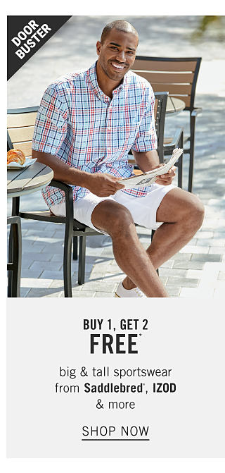 A man wearing a red, white & blue plaid short sleeved button front shirt, white shorts & white sneakers. Doorbuster. Buy 1, Get 2 Free big & tall sportswear from Saddlebred, Izod & more. Shop now.