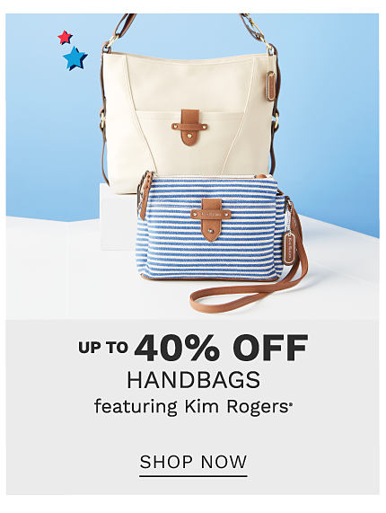 A beige leather crossbody handbag & a blue & white horizontal striped clutch. Up to 40% off handbags featuring Kim Rogers. Shop now.