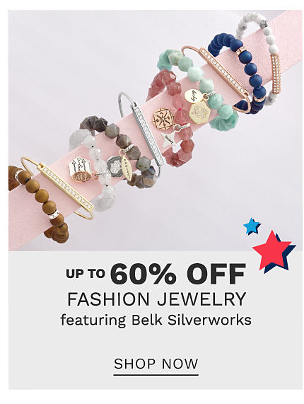 An assortment of fashion jewelry bracelets in a variety of colors & styles. Up to 60% off fashion jewelry featuring Belk Silverworks. Shop now.