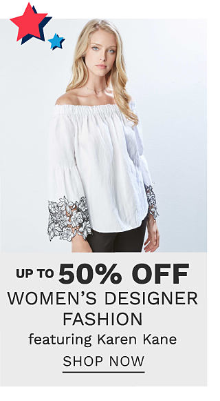 A woman wearing a white long sleeved peasant top with multi colored floral print detail at the sleeve hems & black pants. Up to 50% off women's designer fashion featuring Karen Kane. Shop now.