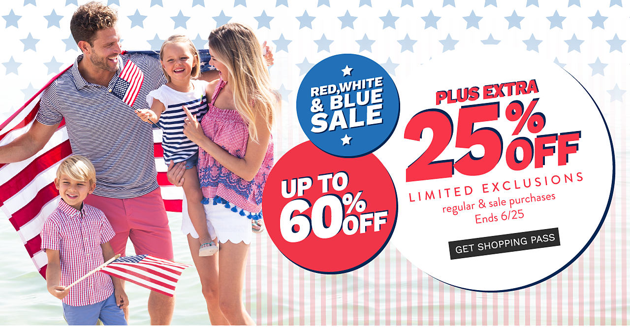 A boy wearing a red & white check short sleeved button front shirt & light blue shorts standing next to a man wearing a blue & white horizontal striped polo & pink shorts, a girl wearing a blue & white horizontal striped short sleeved top & denim shorts & a woman wearing a red & white horizontal striped sleeveless top with blue details at the hem & white shorts. Red, White & Blue Sale. Up to 60% off plus extra 25% off regular & sale purchases with limited exclusions. Ends June 25. Get shopping pass.