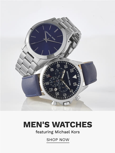 A silver tone metal men's watch with a link watch band & a silver tone metal men's watch with a navy leather watch band. Men's Watcvhes featuring Michael Kors. Shop now.