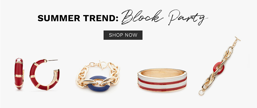 An assortment of colorful earrings, rings & bracelets. Summer Trend. Block Party. Shop now.