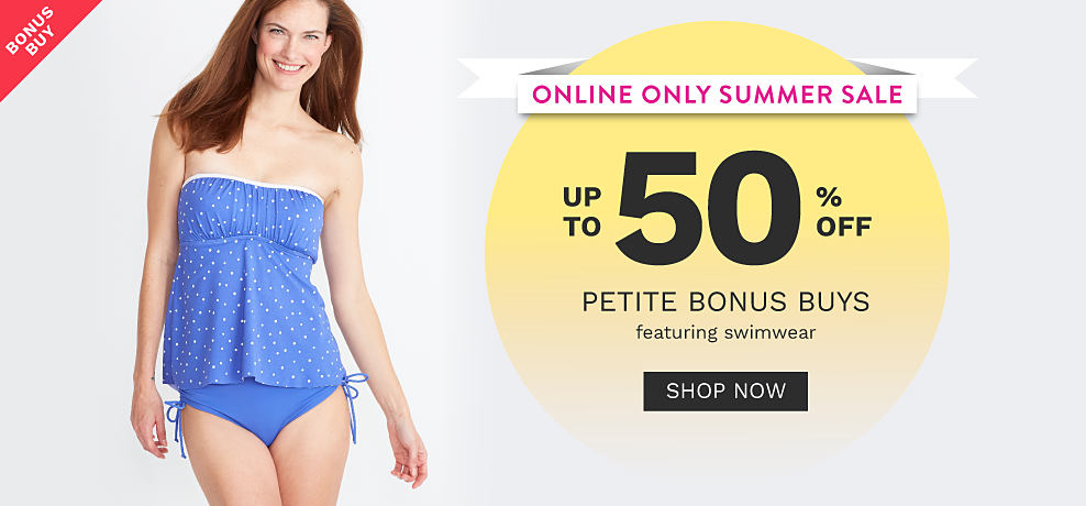 A woman wearing a light blue one piece swimsuit with white dots & side bow detail. Online Only Summer Sale. Bonus Buy. Up to 50% off petite swimwear. Shop now.