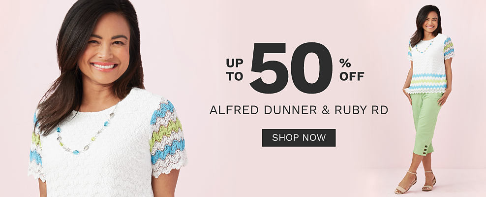 A woman wearing a white knit short sleeved top with light green & light blue wavy stripes on the sleeves, light green capris & beige strappy sandals. Up to 50% off Alfred Dunner & Ruby Road. Shop now.