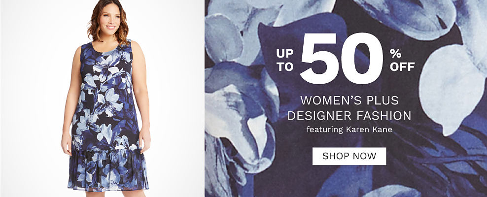 A woman wearing a blue & white floral print sleeveless dress. Up to 50% off women's plus designer fashion featuring Karen Kane. Shop now.