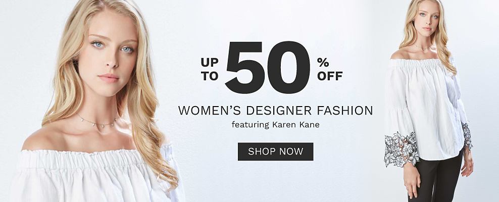 A woman wearing a white cold shoulder long sleeved peasant top with multi colored floral print at the sleeve hems & black pants. Up to 50% off women's designer fashion featuring Karen Kane. Shop now.
