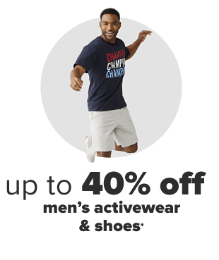 A man in a blue Champion tee shirt and khaki shorts. Up to 40% off men's activewear and shoes.