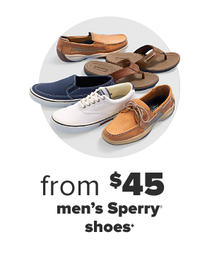 A collection of various men's Sperry shoes, including loafers, casual shoes, slip ons and flip flops. From $49 men's Sperry shoes.